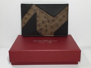 Authentic Salvatore Ferragamo Leather and Ostrich Card Case/ID Holder Dark Brown