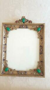 Antique Jeweled Apollo Studios Lrg. 14x10 Picture Frame * Sold As is