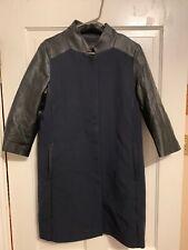 Ann Taylor Faux Leather 3/4 Sleeve Coat M Medium Navy Black