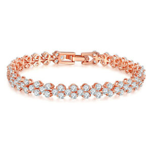 New 7.4'' Rose Gold Plated Charm White Fire Topaz Gems Women Handchain Bracelets