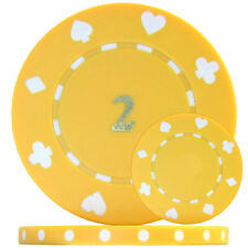 500 x Suited Numbered Poker Chips - Yellow '2' Single Sided Foil Print - 11.5g