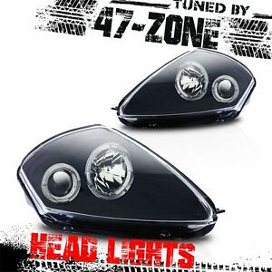 For 2000-2005 Mitsubishi Eclipse Angel Eyes Projector Black Housing Head Lights