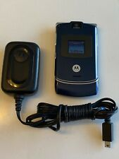 New listing Motorola Razr V3 Blue Flip Razor Cell Phone. Great Condition