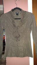 Rue 21 Women's Junior Medium Brown/Gold Ruffled Button Down Shirt