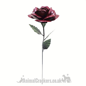 62cm Dark Red metal ROSE flower garden decoration Valentines or Mothers Day Gift