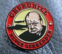 Churchill Never Surrender pin badge ww2 Spitfire Battle of Britain