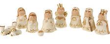 11 Piece Cute Xmas Modern Ceramic Cream Christmas Nativity Figurine Display Set