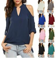 Solid Loose Casual Blouse Jumper Short Sleeve Top Pullover Tops Womens V Neck