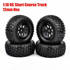 1 Set 12mm Hex Short Course Truck Tires&Wheel For RC HPI 1:10 TRAXXAS SLASH Car