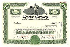 Keebler Co., 1980s 100 Shares Specimen Stock Certificate, VF SCBN