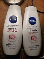 (2) Nivea CARE & SPARKLE Moisturizing Body Wash W/Diamond Powder- 16.9oz. Each