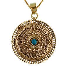 Modeschmuck-Halsketten & -Anhänger aus Stein und Messing mit Türkis-Hauptstein