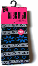 1 PAIR OF WOMENS LADIES COTTON RICH THICK FAIRISLE KNEE HIGH WELLY  BOOT SOCKS