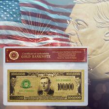 WR Unique Colored US Dollar Bill Note $100,000 Gold Foil American Banknote / COA