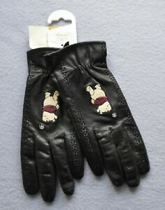 Disney Store Exclusive Ladies 'Winnie the Pooh' Leather Gloves Size M - New