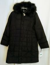 NWT! Calvin Klein Women's Black Puffer Long Coat  Faux Fur Trimmed Hood Size L!