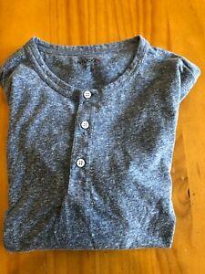 UNTUCKIT Grayish/Blue Heather Henley Shirt Med-Reg Very Comfy TRES COOL!