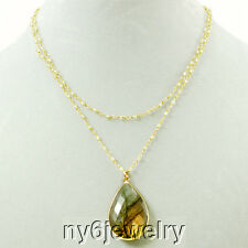 "2 Strands Peridot Chain Labradorite Pendant Necklace w/Gold Plated Clasp 18"" A1"