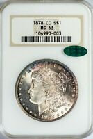 1878-CC Morgan NGC Old Holder MS63 CAC-Verified Toned Silver Dollar Beauty!