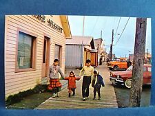 Postcard AK Main Street Eskimo Children on Wooden Sidewalk
