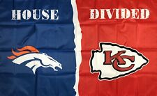 Denver Broncos vs Kansas City Chiefs House Divided NFL Flag 3x5 ft Banner New