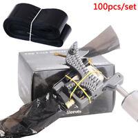 100Pcs Black Disposable Tattoo Machine Clip Cord Hook Sleeve Bags Hygiene Cov.~
