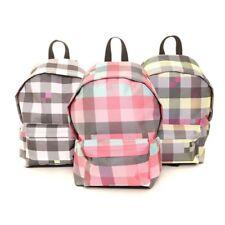 Women's Ladies Girls Outdoor Checked Rucksack Backpack Black Pink Grey