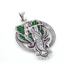Green Winged Lotus Flower Angel Fairy Faery Sterling Silver Pendant