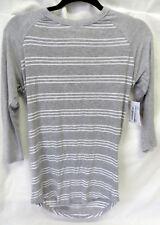 LuLaRoe Randy Tee Grey w White Stripes Shirt w Grey Raglan Sleeve Size XXS #5907