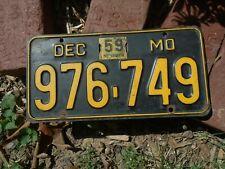 Vintage Missouri 1959 License Plate # 976-749, MO Chevrolet