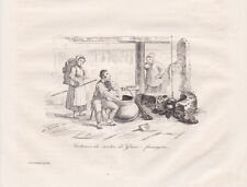 Costumes Fromagerie Canton Glaris Suisse STAHLSTICH von 1835 Trachten Käserei Sc