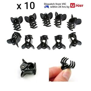 10x Black Mini Small Plastic Hair Claw Clamp Baby Girl Ladies Clips Hairpins