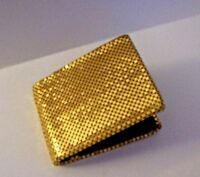 Whiting & Davis Mesh-Mates Gold Bi Fold Wallet Snap Coin Holder Vintage
