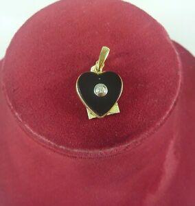 FABULOUS NEW UNUSED 9K/CT YELLOW GOLD ONYX DIAMOND HEART SHAPED ENHANCER PENDANT
