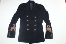 POLO RALPH LAUREN NAVY DOUBLE BREASTED WOOL CASHMERE MILITARY COAT Size 14 ITALY