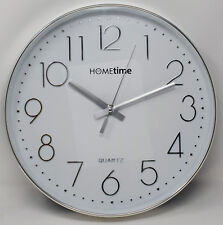 Large Stylish Contemporary Chrome Finished Wall Clock Retro Office Kitchen Home