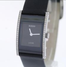 NWOT Ladies Rado Integral Jubile´ R20759155 Black Dial Leather Diamond Watch