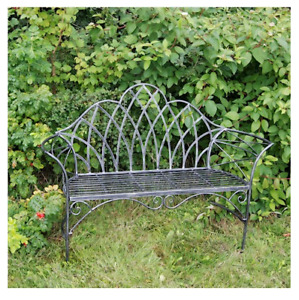 Antique Edwardian Style Distressed Grey Metal Garden,Patio,Balcony Seat Bench