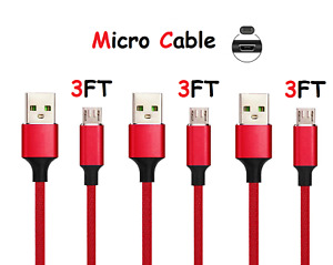 3-Pack Fast Charger Micro USB Cable Cord For OEM Samsung Galaxy S6 S7 Edge Note5