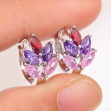 Earrings White Gold Diamond Amethyst Sapphire Citrine Leaf Huggie Hoops Silver