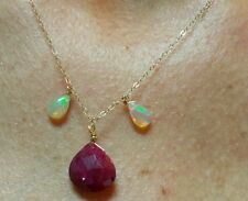 Genuine Ruby and Opals 6ctw solid stamped  14k gold pendant necklace