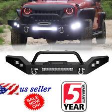 For 07-17 Jeep Wrangler JK Full Width Front Bumper W/Winch Plate & 5 LED Lights