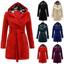 Women Warm Hooded Trench Winter Wool Coat Blends Long Belt Jacket Outwear ILC
