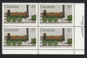 HISTORY = LOCOMOTIVES (1836-1860) = Canada 1983 #1001 LR PLATE Block of 4 MNH