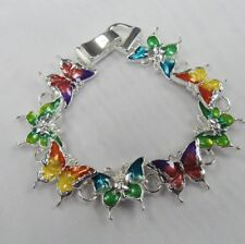 Silver Plated Multicolor Butterfly Charm Bracelet With Magnetic Clasp # 5710 New
