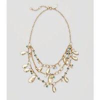 Ann Taylor Loft LOFT Pearlized Leaf Four Tier Drop Metallic Necklace $34.50 BLUE