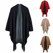 Luxury Celeb Cashmere Like Poncho Blanket Wrap Shawl Cape Cloak Solid Fringe Hot