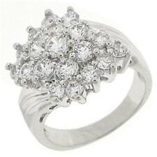 18K W GOLD EP 3.0CT DIAMOND SIMULATED CLUSTER RING size 7 or O