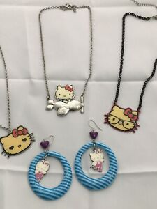 Lot of 4 Hello Kitty Sanrio- Metal Airplane Kitty Necklace-Super Kitty Earring +