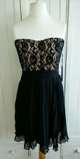 NEW Forever 21 black nude strapless lace dress size L 12